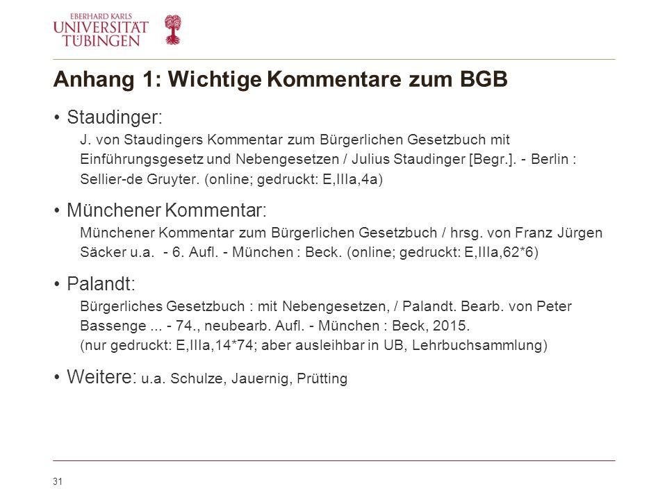 Anhang 1: Wichtige Kommentare zum BGB Staudinger: J.