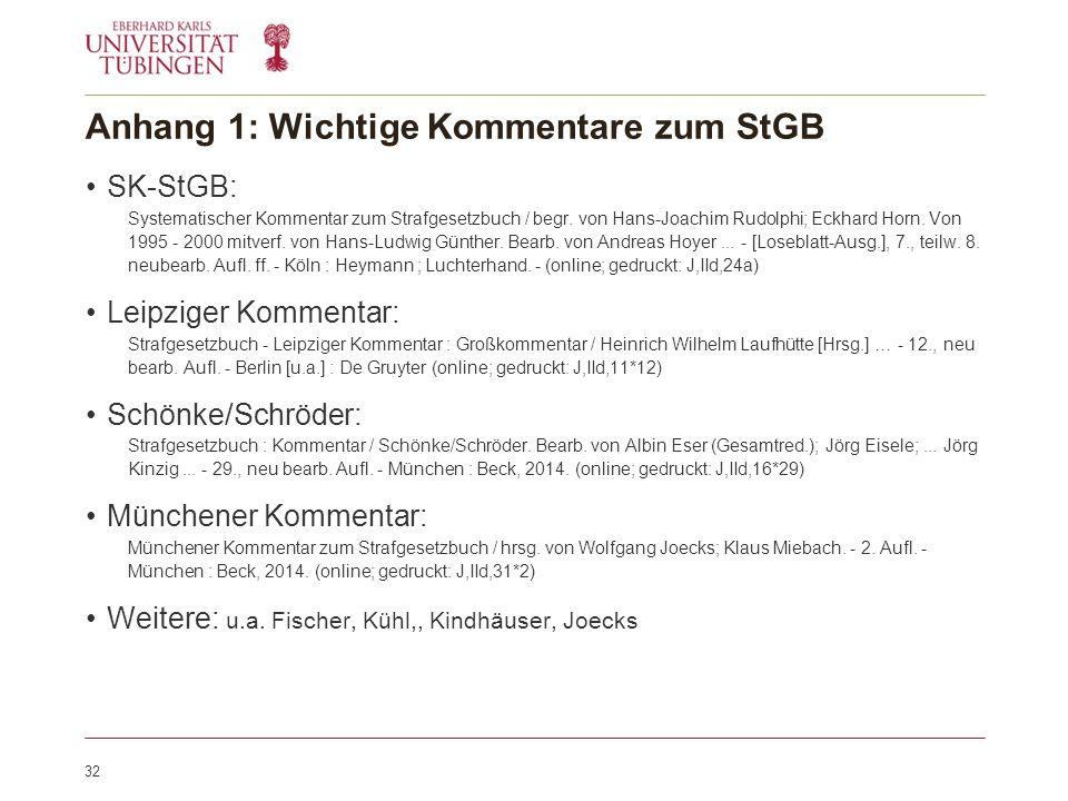 Anhang 1: Wichtige Kommentare zum StGB SK-StGB: Systematischer Kommentar zum Strafgesetzbuch / begr.
