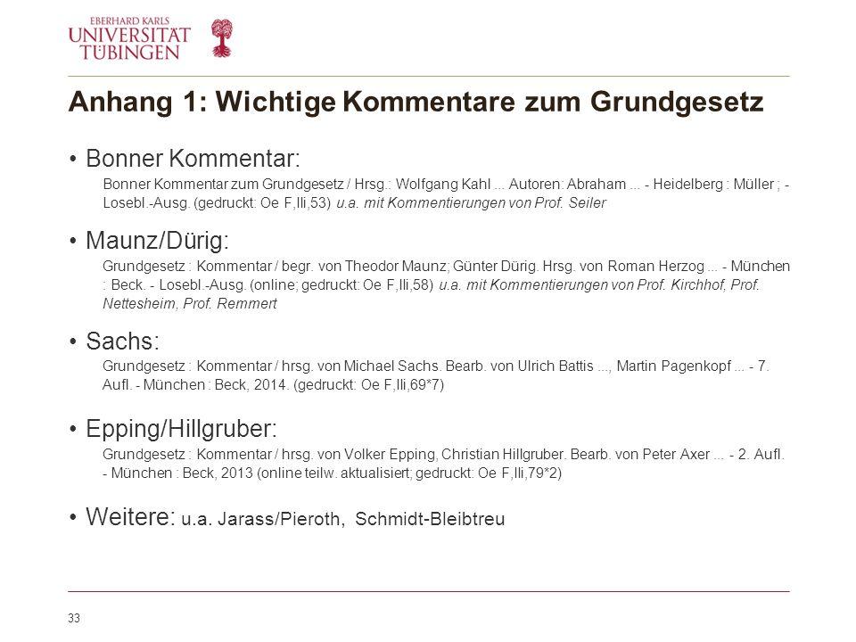 Anhang 1: Wichtige Kommentare zum Grundgesetz Bonner Kommentar: Bonner Kommentar zum Grundgesetz / Hrsg.: Wolfgang Kahl...