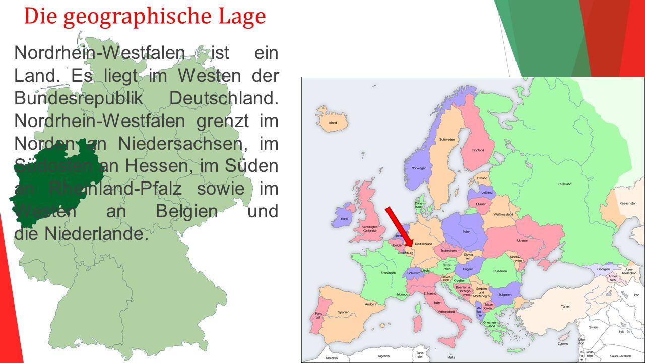 Die geographische Lage Nordrhein-Westfalen ist ein Land. Es liegt im Westen der Bundesrepublik Deutschland. Nordrhein-Westfalen grenzt im Norden an Ni