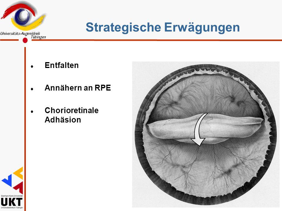 l Entfalten l Annähern an RPE l Chorioretinale Adhäsion Strategische Erwägungen