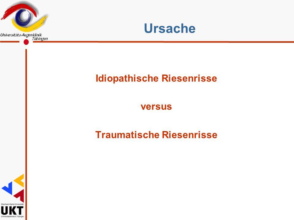 Take home l Oradialyse versus Riesenriss l Idiopathisch versus Traumatisch l Intraoperative Besonderheiten l PVR ja oder nein l Partnerauge