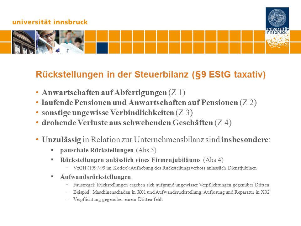 Finanzierungseffekt aus Rückstellungen Beispiel: Für einen Schaden von € 100.000.- (berechnet nach Gegenwartspreisen), der (erst) in 10 Jahren droht, wird eine Rückstellung gebildet.