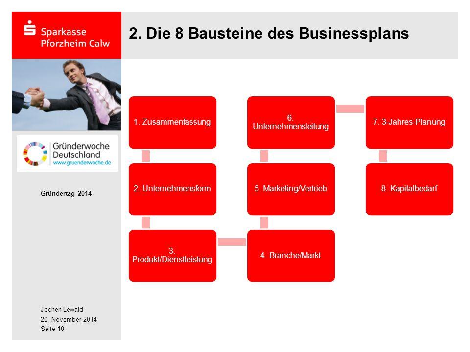 Jochen Lewald 20. November 2014 Gründertag 2014 Seite 10 2. Die 8 Bausteine des Businessplans 1. Zusammenfassung2. Unternehmensform 3. Produkt/Dienstl