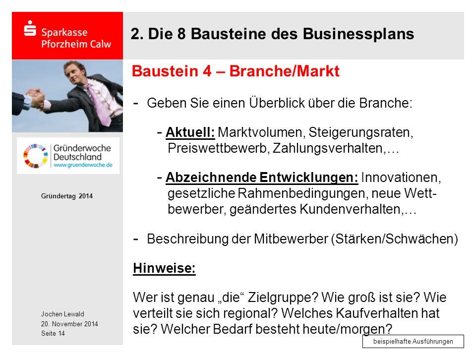 Jochen Lewald 20. November 2014 Gründertag 2014 Seite 14 2. Die 8 Bausteine des Businessplans - Geben Sie einen Überblick über die Branche: - Aktuell:
