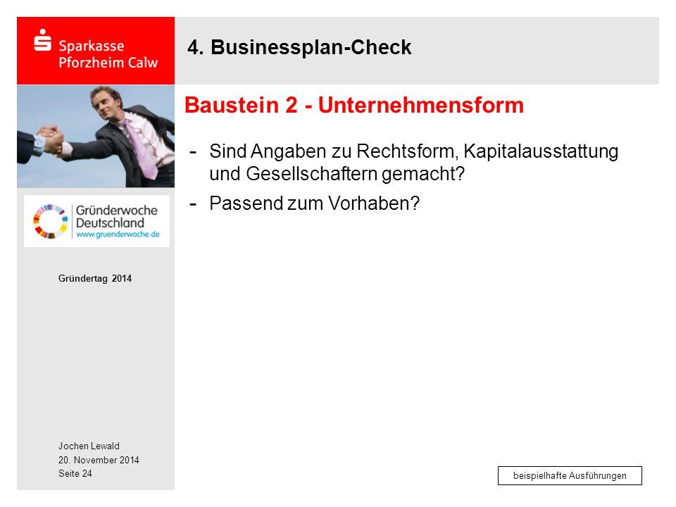 Jochen Lewald 20. November 2014 Gründertag 2014 Seite 24 4. Businessplan-Check - Sind Angaben zu Rechtsform, Kapitalausstattung und Gesellschaftern ge