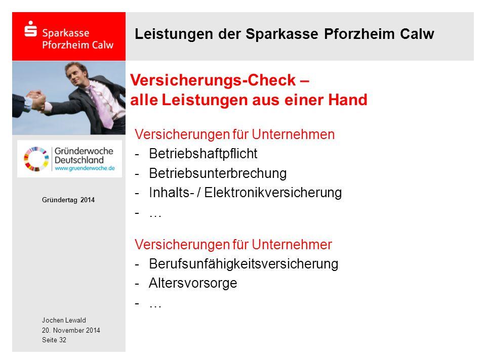 Jochen Lewald 20. November 2014 Gründertag 2014 Seite 32 Leistungen der Sparkasse Pforzheim Calw Versicherungs-Check – alle Leistungen aus einer Hand