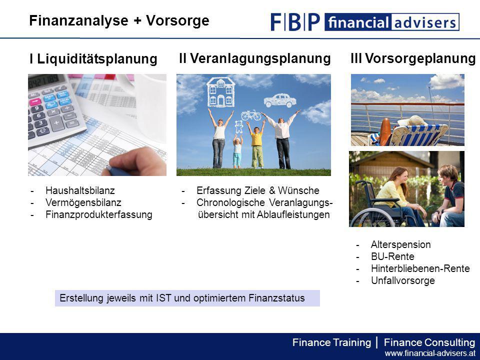 Finance Training │ Finance Consulting www.financial-advisers.at Finanzanalyse + Vorsorge I Liquiditätsplanung II Veranlagungsplanung III Vorsorgeplanu