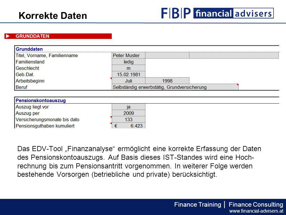 """Finance Training │ Finance Consulting www.financial-advisers.at Das EDV-Tool """"Finanzanalyse"""" ermöglicht eine korrekte Erfassung der Daten des Pensions"""