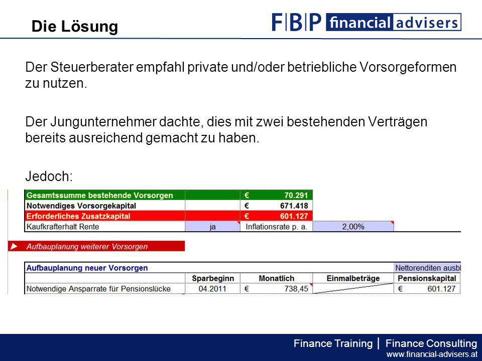 Finance Training │ Finance Consulting www.financial-advisers.at Der Steuerberater empfahl private und/oder betriebliche Vorsorgeformen zu nutzen. Der