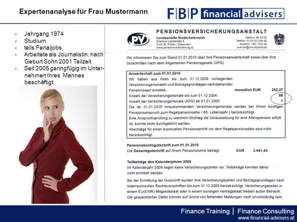 Finance Training │ Finance Consulting www.financial-advisers.at Expertenanalyse für Frau Mustermann -Jahrgang 1974 -Studium -teils Ferialjobs, -Arbeitete als Journalistin, nach Geburt Sohn 2001 Teilzeit -Seit 2005 geringfügig im Unter- nehmen Ihres Mannes beschäftigt.