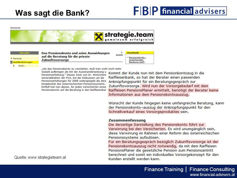 Finance Training │ Finance Consulting www.financial-advisers.at Expertenanalyse II Geringfügig, keine Pensionsbeträge