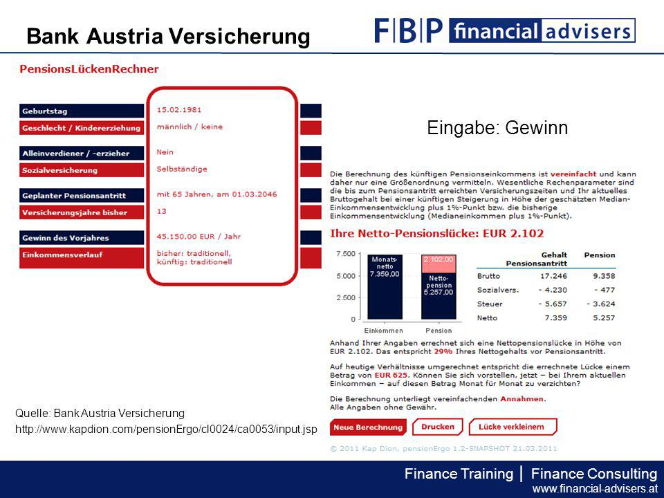 Finance Training │ Finance Consulting www.financial-advisers.at Bank Austria Versicherung Quelle: Bank Austria Versicherung http://www.kapdion.com/pensionErgo/cl0024/ca0053/input.jsp Eingabe: Gewinn