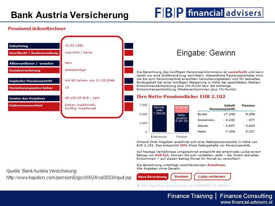 Finance Training │ Finance Consulting www.financial-advisers.at Expertenlösung, 2.000 Prozent plus Pensionsanspruch fiktiv (bei 180 Monaten) € 252,27 p.
