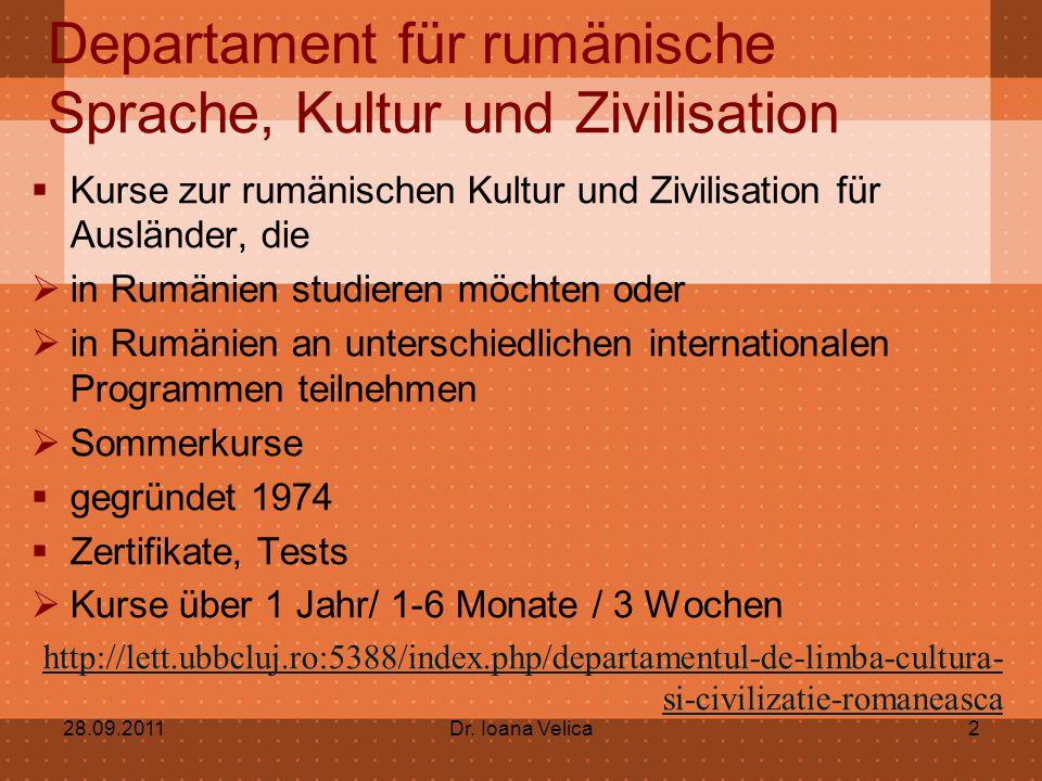 Departament für rumänische Sprache, Kultur und Zivilisation  Kurse zur rumänischen Kultur und Zivilisation für Ausländer, die  in Rumänien studieren