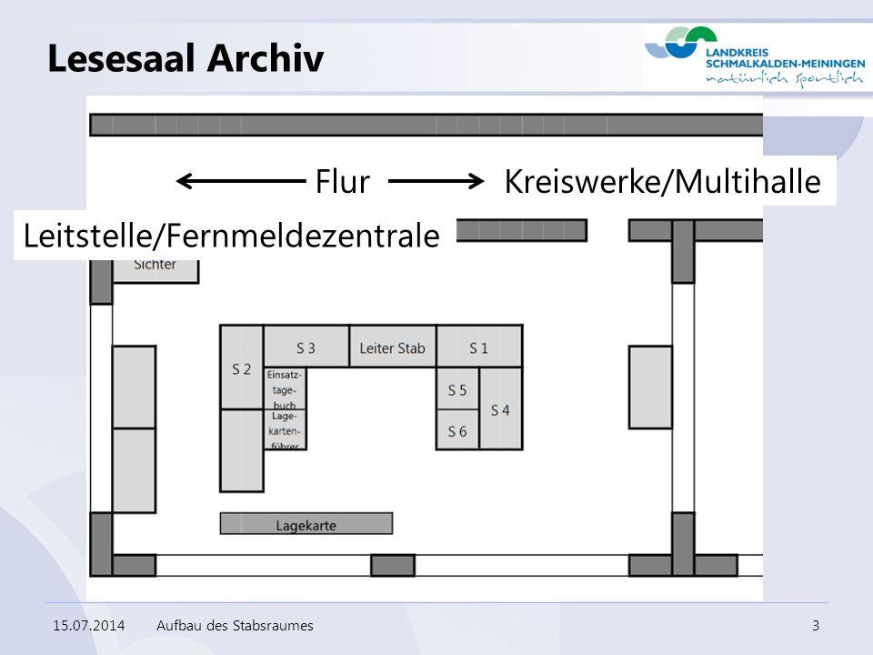 Lesesaal Archiv 15.07.2014Aufbau des Stabsraumes3 Flur Leitstelle/Fernmeldezentrale Kreiswerke/Multihalle
