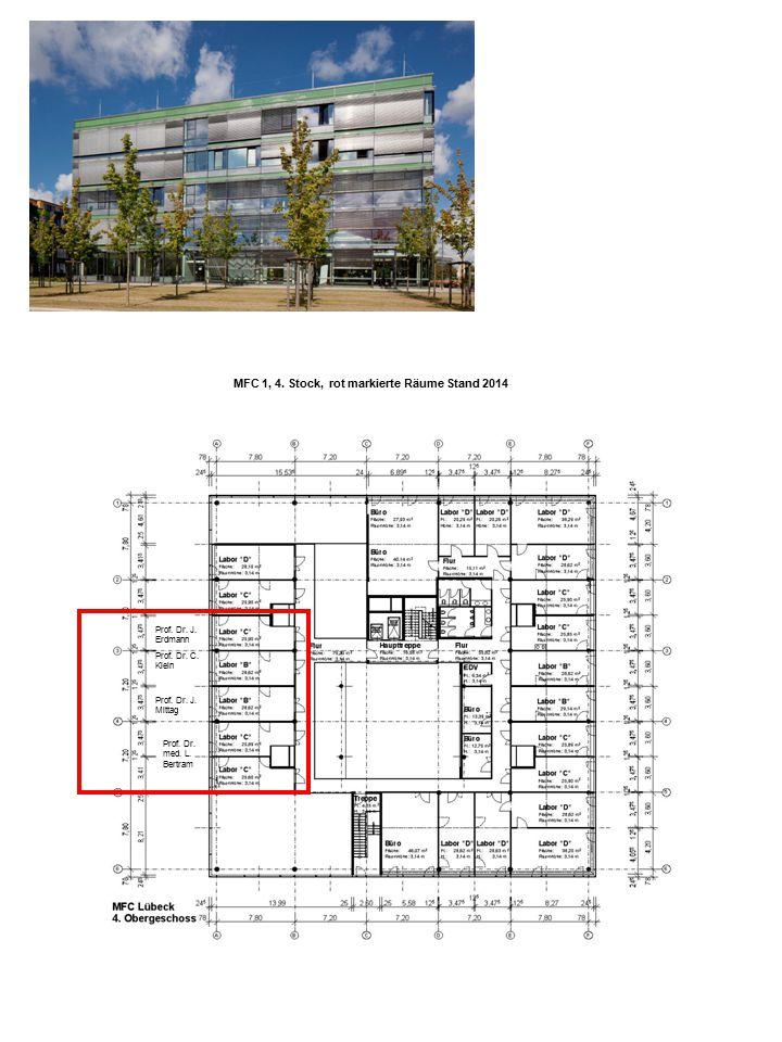 MFC 1, 4. Stock, rot markierte Räume Stand 2014 Prof. Dr. J. Erdmann Prof. Dr. C. Klein Prof. Dr. J. Mittag Prof. Dr. med. L. Bertram