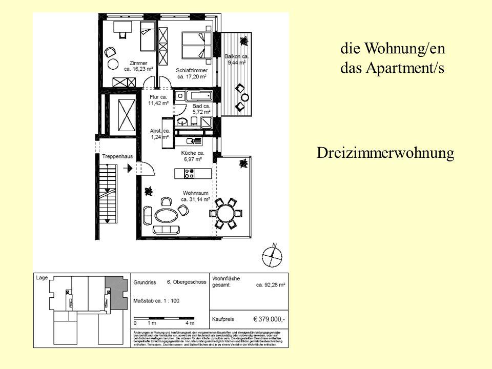 die Wohnung/en das Apartment/s Dreizimmerwohnung