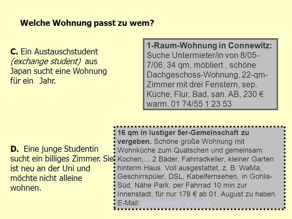 1-Raum-Wohnung in Connewitz: Suche Untermieter/in von 8/05- 7/06, 34 qm, möbliert, schöne Dachgeschoss-Wohnung, 22-qm- Zimmer mit drei Fenstern, sep.