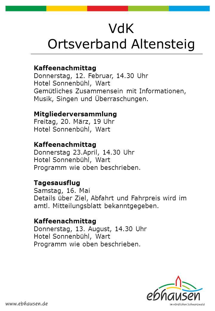 Kaffeenachmittag Donnerstag, 12. Februar, 14.30 Uhr Hotel Sonnenbühl, Wart Gemütliches Zusammensein mit Informationen, Musik, Singen und Überraschunge