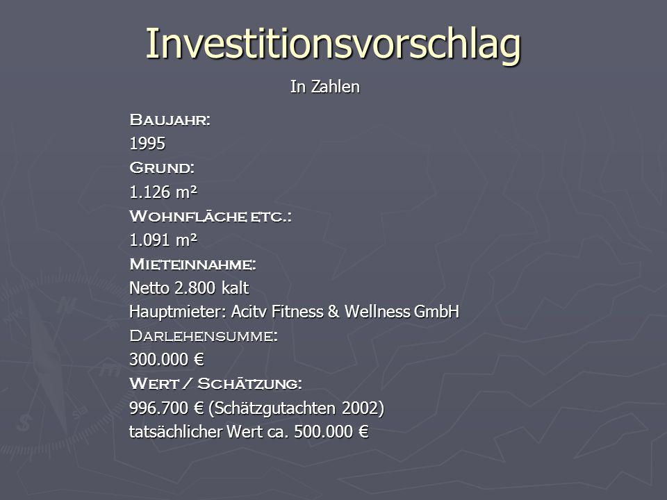 Investitionsvorschlag In Zahlen Baujahr:1995Grund: 1.126 m² Wohnfläche etc.: 1.091 m² Mieteinnahme: Netto 2.800 kalt Hauptmieter: Acitv Fitness & Wellness GmbH Darlehensumme: 300.000 € Wert / Schätzung: 996.700 € (Schätzgutachten 2002) tatsächlicher Wert ca.
