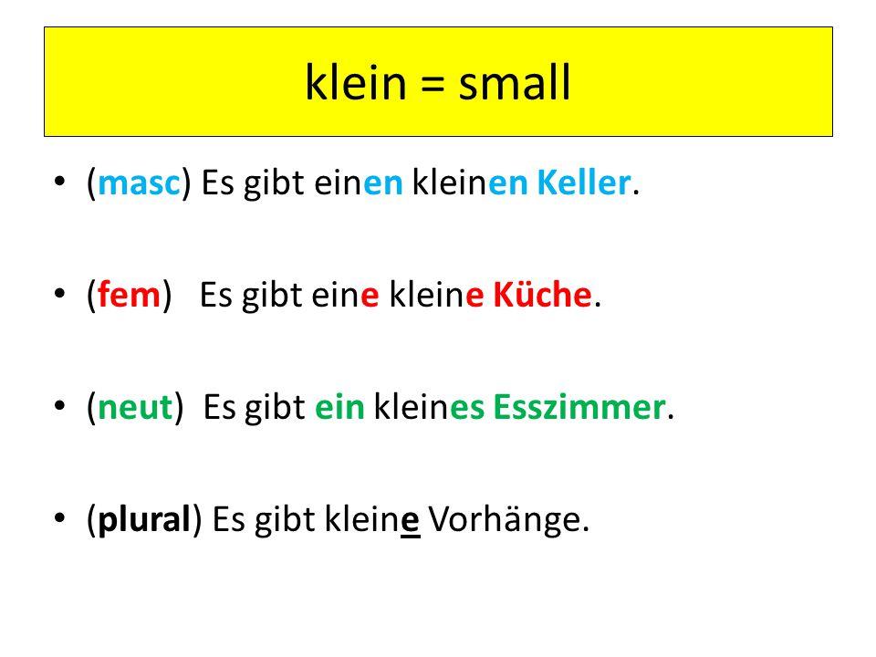 klein = small (masc) Es gibt einen kleinen Keller. (fem) Es gibt eine kleine Küche. (neut) Es gibt ein kleines Esszimmer. (plural) Es gibt kleine Vorh