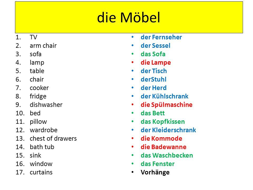 Hausaufgaben Donnerstag, den 12ten September Learn Möbel for vocab test. Target 16/16