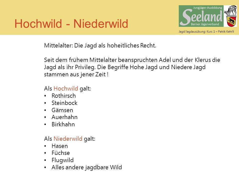 Jagd/Jagdausübung: Kurs 1 – Patrik Keh rli Hochwild - Niederwild Mittelalter: Die Jagd als hoheitliches Recht. Seit dem frühem Mittelalter beansprucht