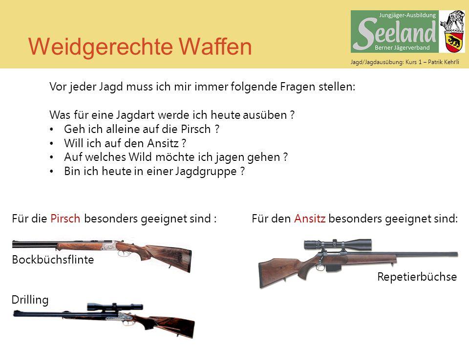 Jagd/Jagdausübung: Kurs 1 – Patrik Keh rli Weidgerechte Waffen Vor jeder Jagd muss ich mir immer folgende Fragen stellen: Was für eine Jagdart werde i