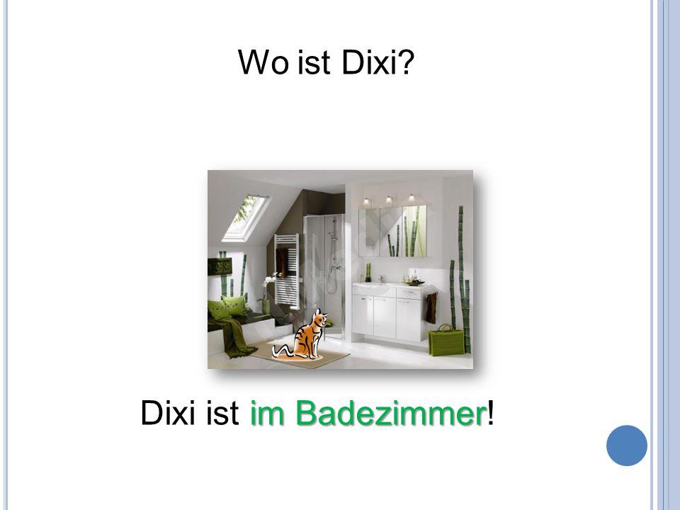 Wo ist Dixi? im Badezimmer Dixi ist im Badezimmer!