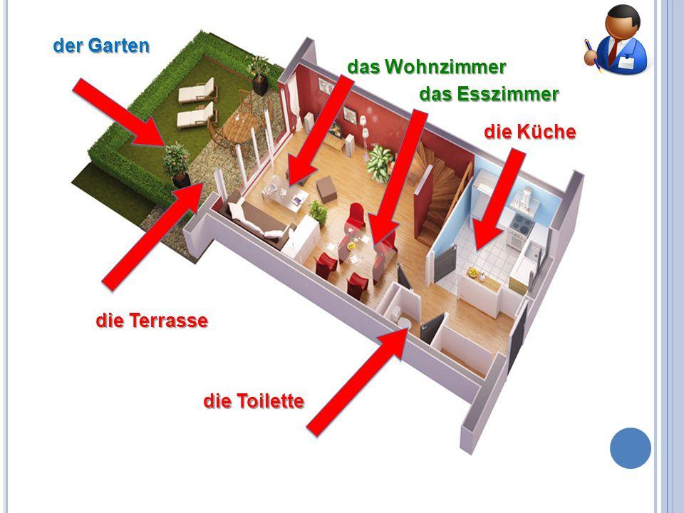 der Garten die Küche die Toilette die Terrasse das Esszimmer das Wohnzimmer