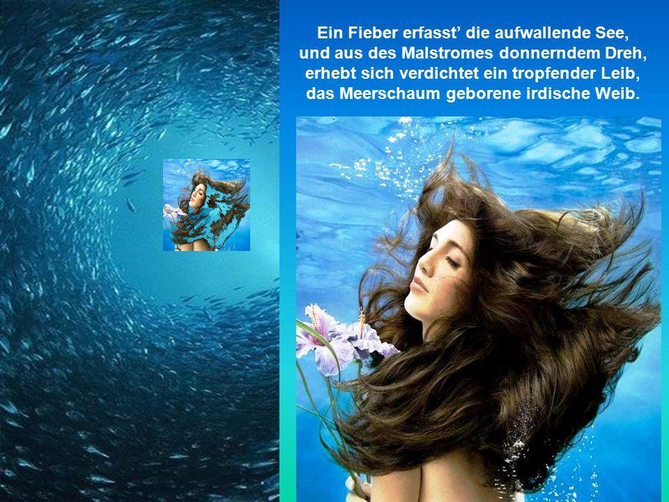 Das Wasser schiebt, das Wasser schäumt, und wie sich das Meer zur Mutter träumt, perlt einmal die Gischt im kreisenden Tanz, Moleküle mutierten zum brodelnden Kranz.
