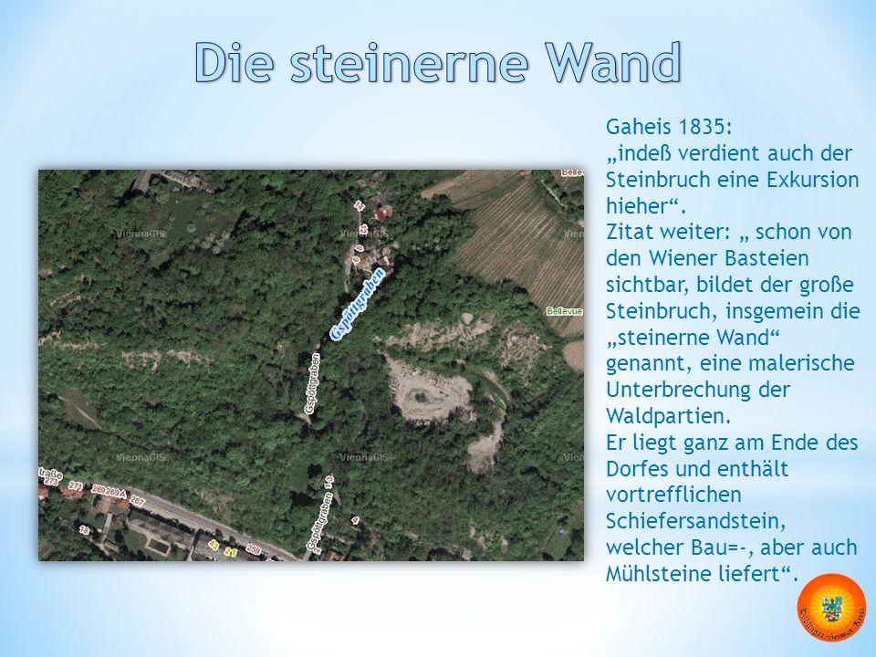 """Gaheis 1835: """"indeß verdient auch der Steinbruch eine Exkursion hieher"""". Zitat weiter: """" schon von den Wiener Basteien sichtbar, bildet der große Stei"""