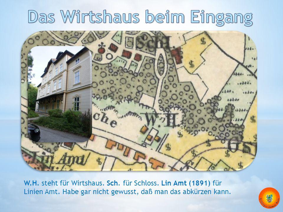 W.H. steht für Wirtshaus. Sch. für Schloss. Lin Amt (1891) für Linien Amt. Habe gar nicht gewusst, daß man das abkürzen kann.