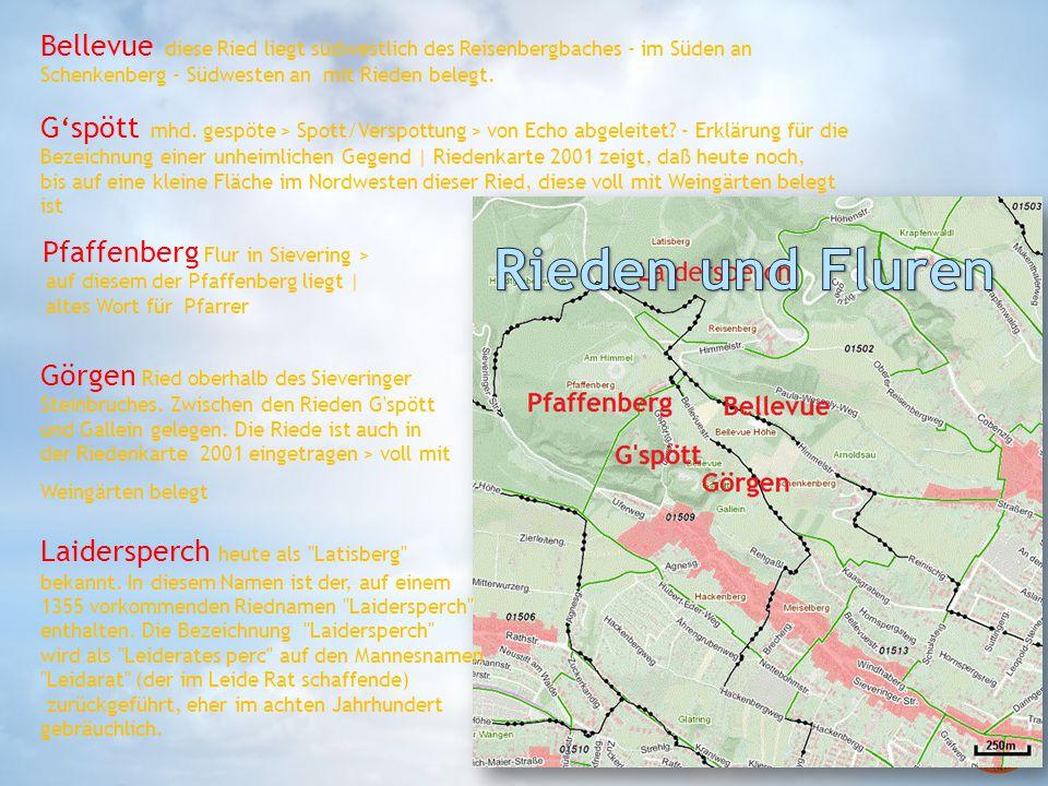 Bellevue diese Ried liegt südwestlich des Reisenbergbaches - im Süden an Schenkenberg - Südwesten an mit Rieden belegt. G'spött mhd. gespöte > Spott/V
