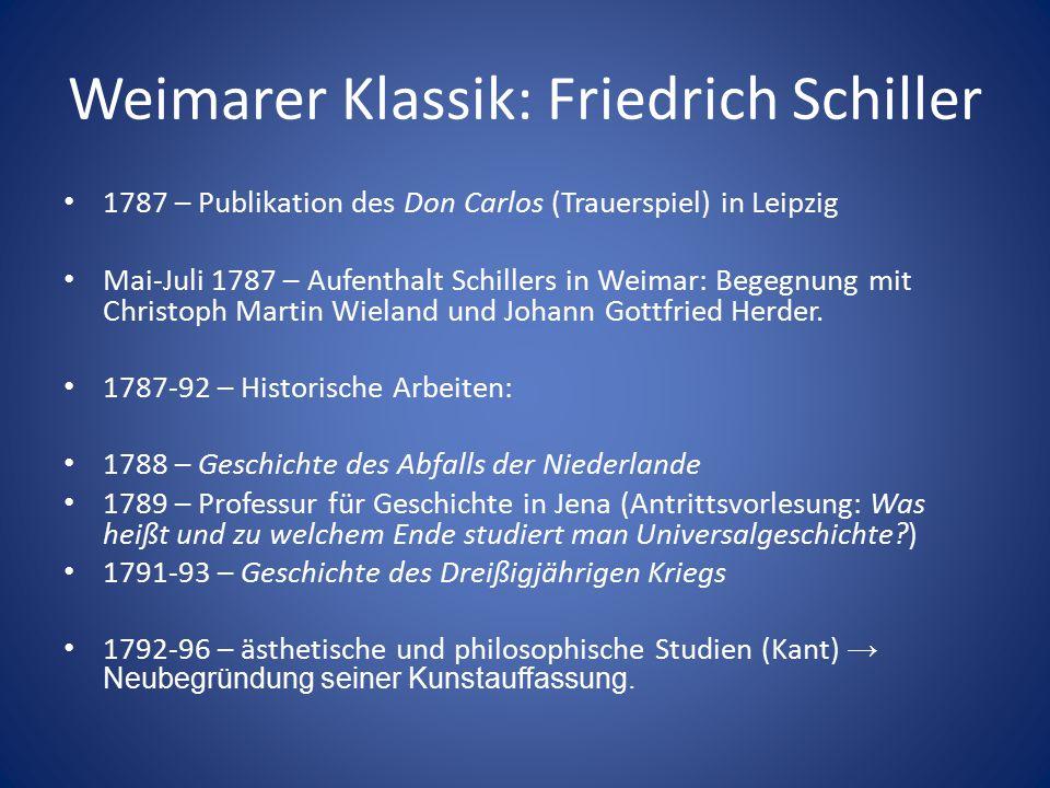Weimarer Klassik: Friedrich Schiller 1787 – Publikation des Don Carlos (Trauerspiel) in Leipzig Mai-Juli 1787 – Aufenthalt Schillers in Weimar: Begegn