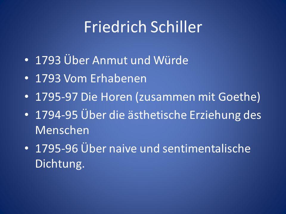 Friedrich Schiller 1793 Über Anmut und Würde 1793 Vom Erhabenen 1795-97 Die Horen (zusammen mit Goethe) 1794-95 Über die ästhetische Erziehung des Men