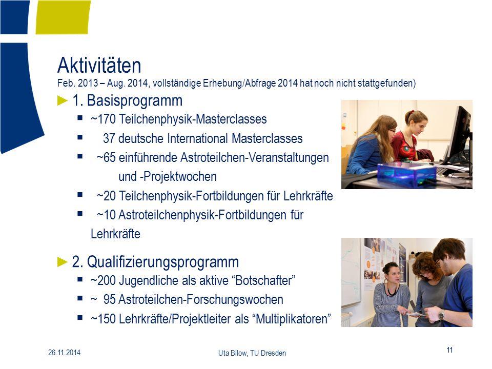 Aktivitäten Feb. 2013 – Aug. 2014, vollständige Erhebung/Abfrage 2014 hat noch nicht stattgefunden) 11 26.11.2014 Uta Bilow, TU Dresden