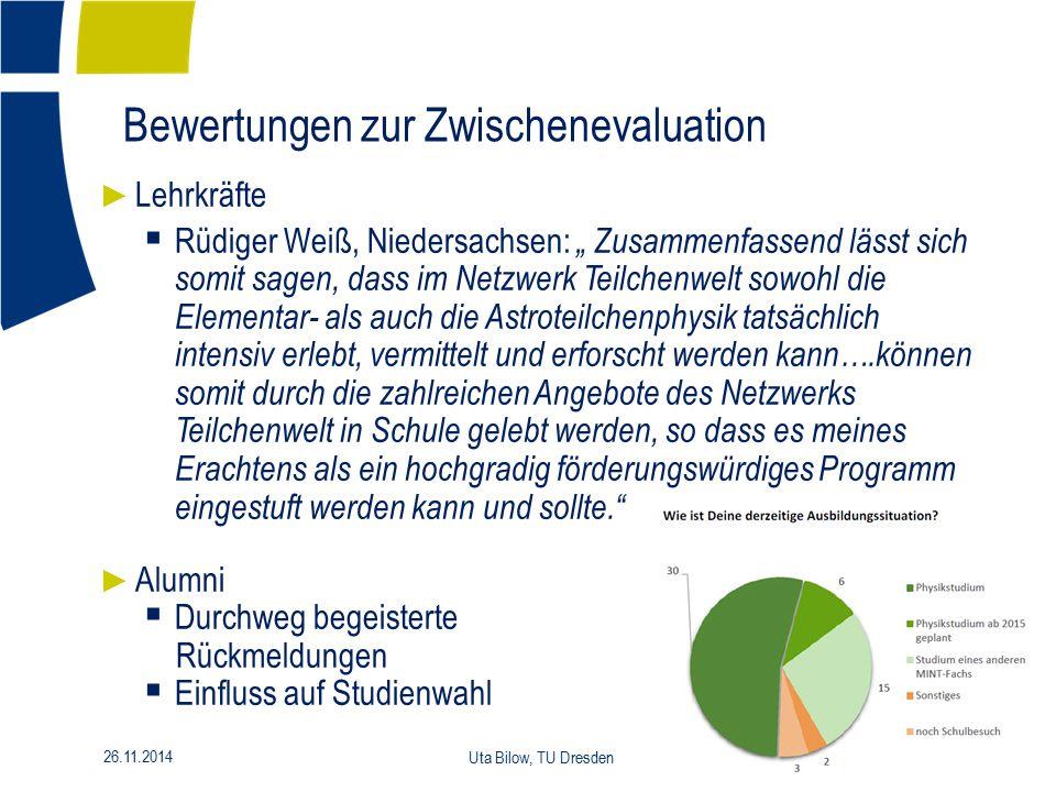 """14 26.11.2014 Uta Bilow, TU Dresden ► Lehrkräfte  Rüdiger Weiß, Niedersachsen: """" Zusammenfassend lässt sich somit sagen, dass im Netzwerk Teilchenwel"""
