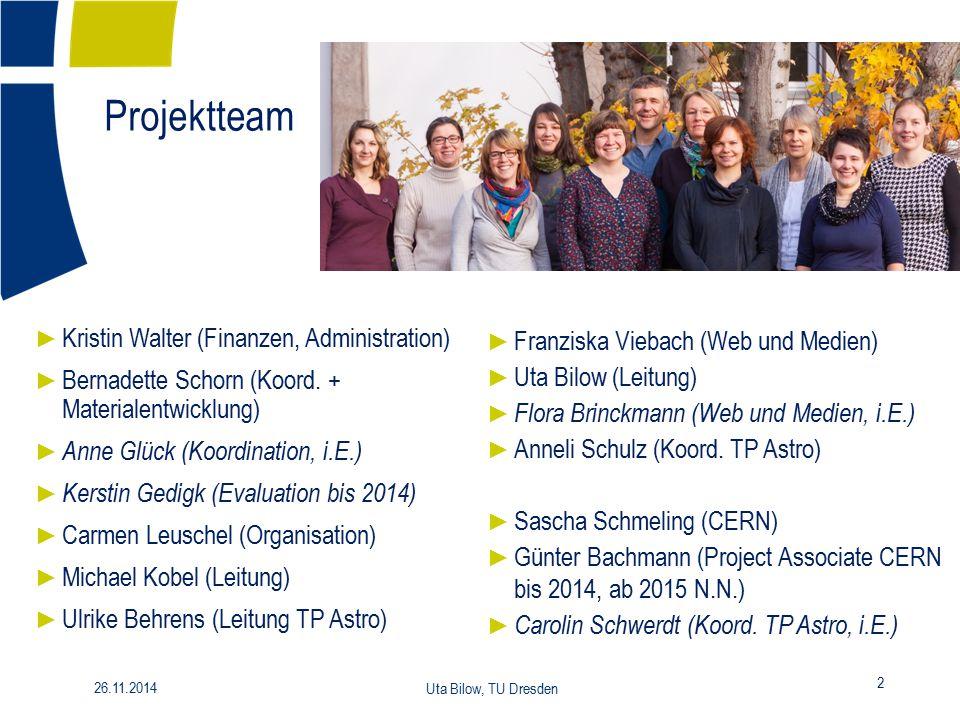 Projektteam 2 26.11.2014 Uta Bilow, TU Dresden ► Kristin Walter (Finanzen, Administration) ► Bernadette Schorn (Koord. + Materialentwicklung) ► Anne G