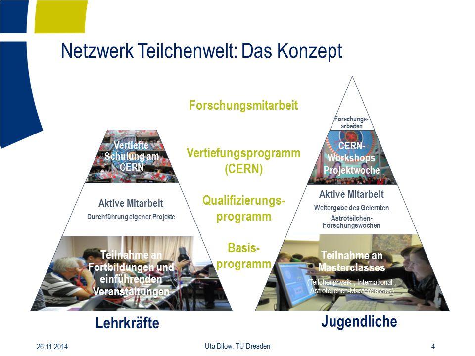 Netzwerk Teilchenwelt: Das Konzept Forschungs- arbeiten CERN- Workshops Projektwoche Aktive Mitarbeit Weitergabe des Gelernten Astroteilchen- Forschun