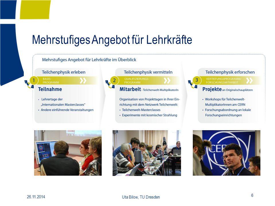 Mehrstufiges Angebot für Lehrkräfte 26.11.2014 Uta Bilow, TU Dresden 6