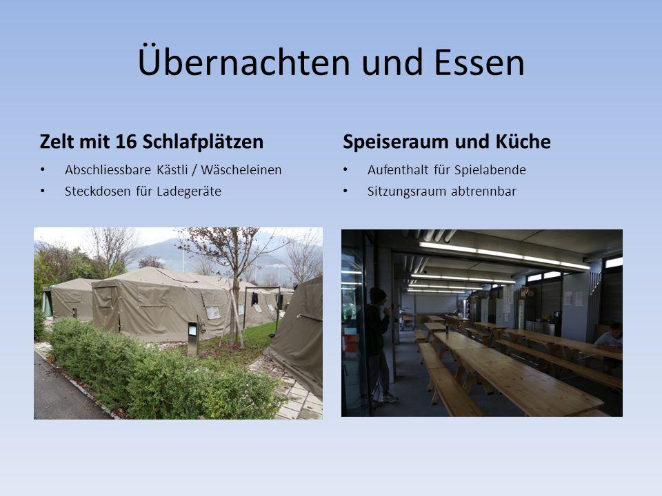 Übernachten und Essen Zelt mit 16 Schlafplätzen Abschliessbare Kästli / Wäscheleinen Steckdosen für Ladegeräte Speiseraum und Küche Aufenthalt für Spi
