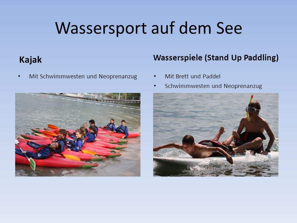 Wassersport auf dem See Kajak Mit Schwimmwesten und Neoprenanzug Wasserspiele (Stand Up Paddling) Mit Brett und Paddel Schwimmwesten und Neoprenanzug