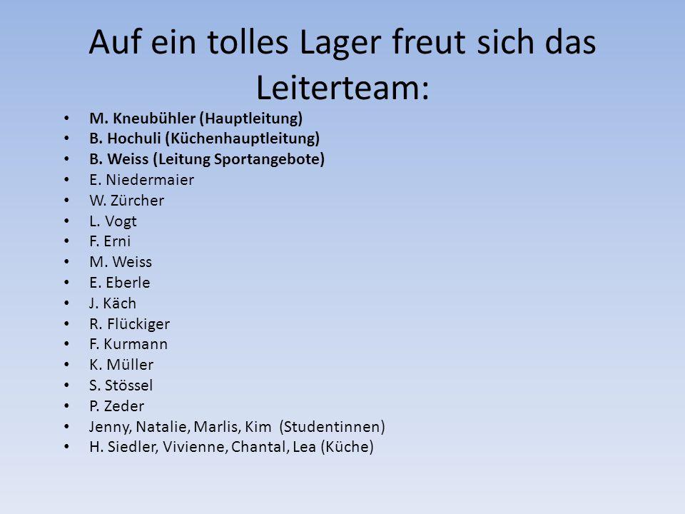 Auf ein tolles Lager freut sich das Leiterteam: M. Kneubühler (Hauptleitung) B. Hochuli (Küchenhauptleitung) B. Weiss (Leitung Sportangebote) E. Niede