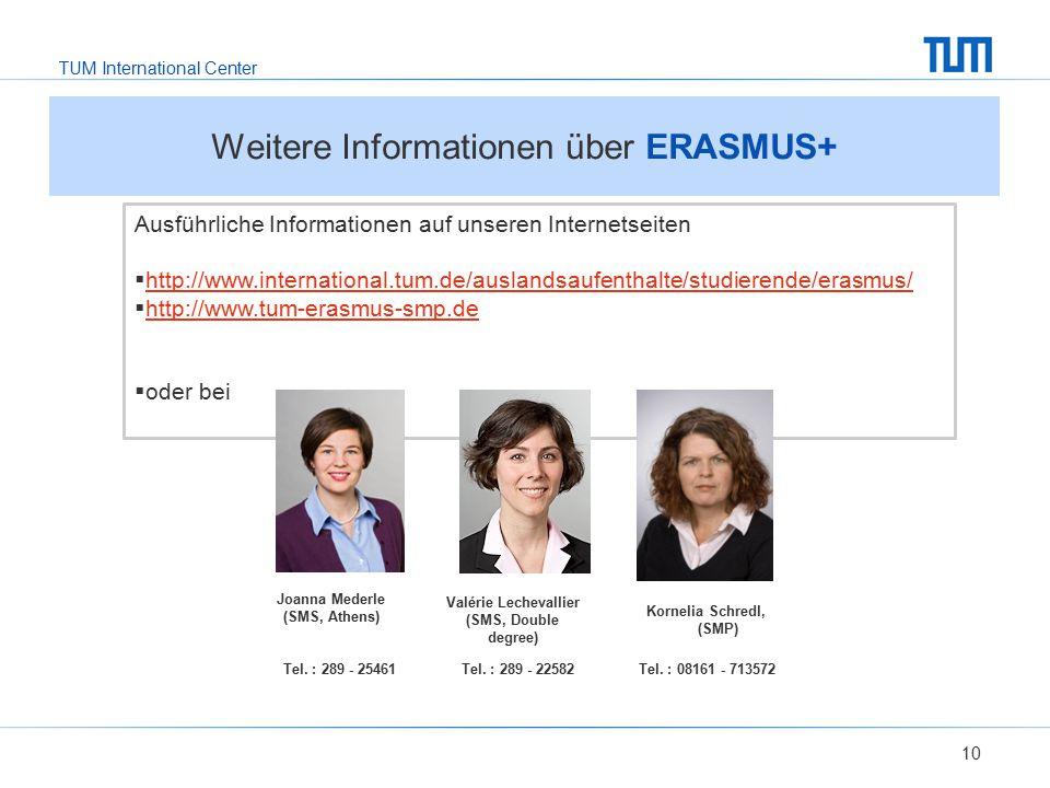 TUM International Center 10 Ausführliche Informationen auf unseren Internetseiten  http://www.international.tum.de/auslandsaufenthalte/studierende/er