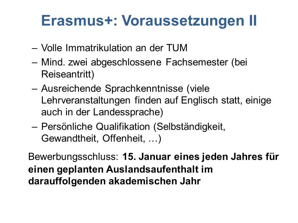 Erasmus+: Voraussetzungen II –Volle Immatrikulation an der TUM –Mind. zwei abgeschlossene Fachsemester (bei Reiseantritt) –Ausreichende Sprachkenntnis