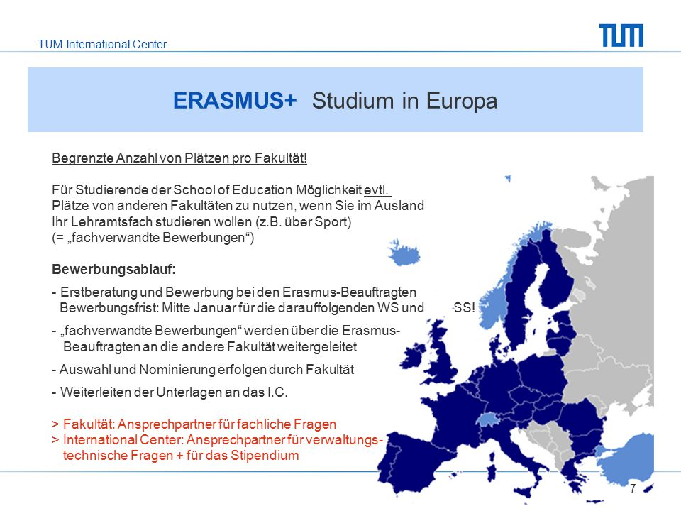 TUM International Center 7 ERASMUS+ Studium in Europa