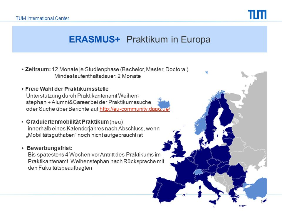 TUM International Center 8 ERASMUS+ Praktikum in Europa