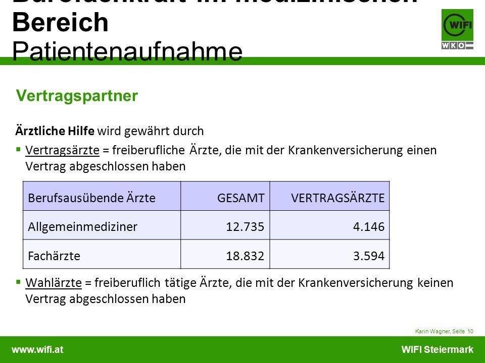 www.wifi.atWIFI Steiermark Bürofachkraft im medizinischen Bereich Patientenaufnahme Karin Wagner, Seite 10 Vertragspartner Ärztliche Hilfe wird gewähr